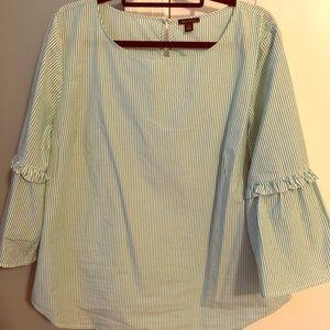 Ann Taylor bell sleeve stripe blouse